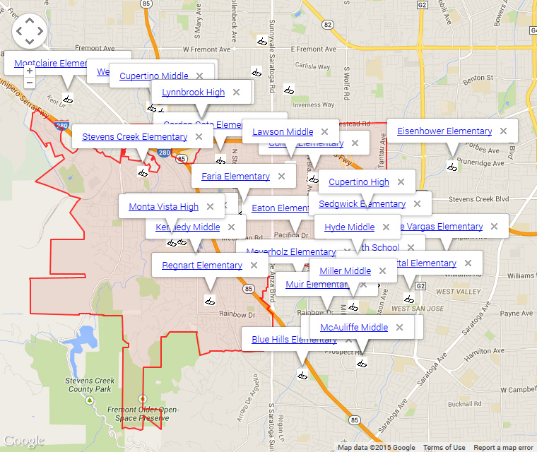 Map of Cupertino Schools