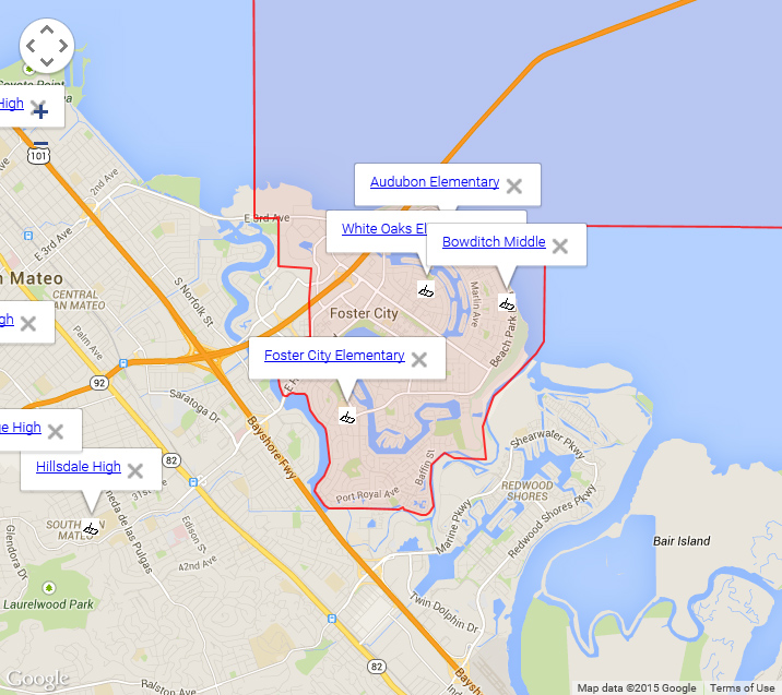 Map of Foster City Schools