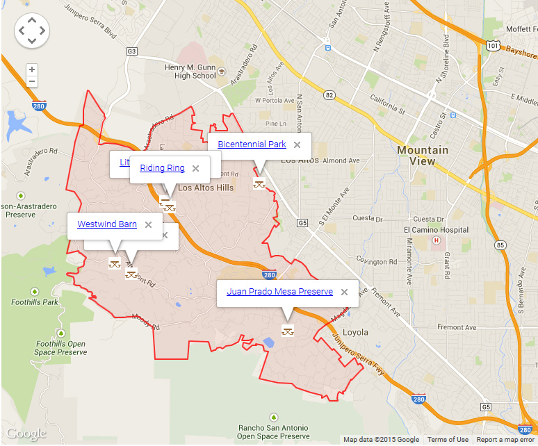 Map of Los Altos Hills showing parks