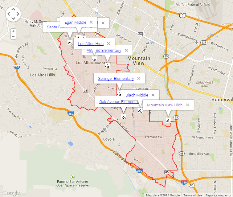 Map of Los Altos Schools