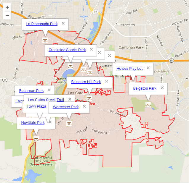 Map of Los Gatos showing Parks