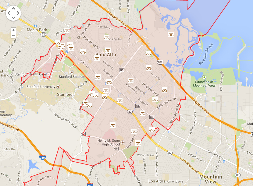 Map of Palo Alto showing parks
