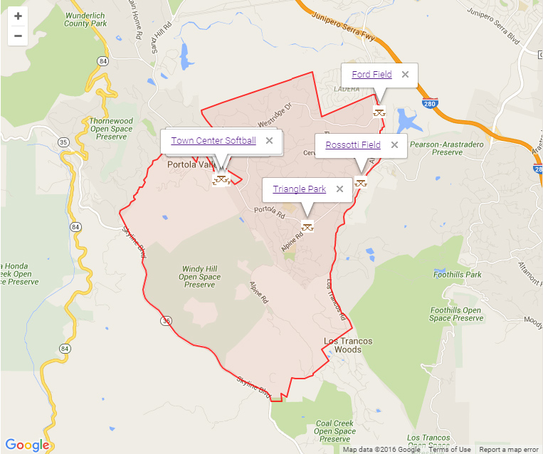 Map of Portola Valley showing Parks