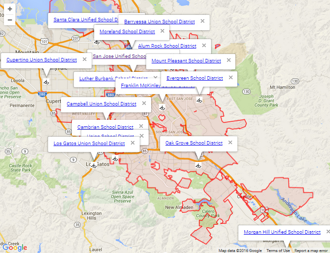 Map of San Jose Schools