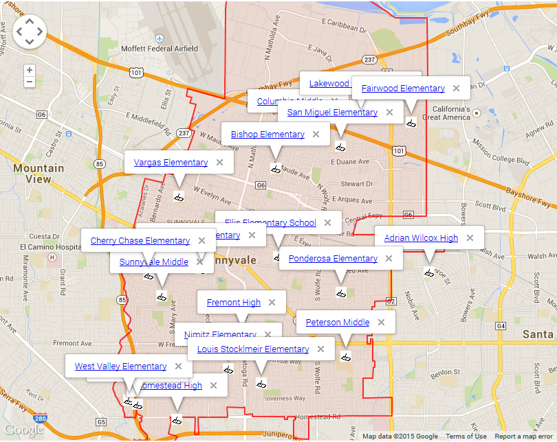 Map of Sunnyvale Schools